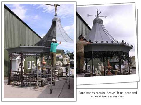 montage of images of a bandstand being errected
