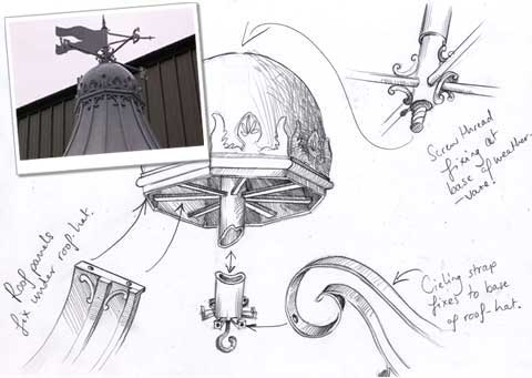 Drawing and photo of a weathervane