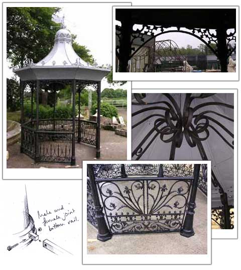 photo montage of a small bandstand