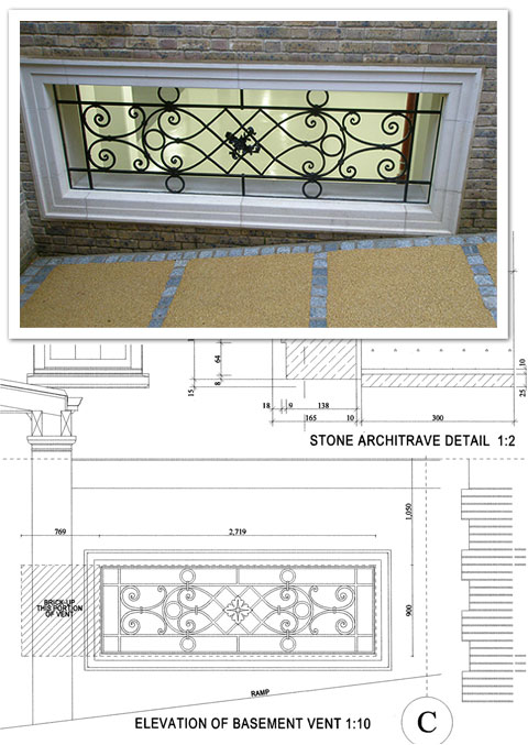 Wrought basement grill - finished product and schematic
