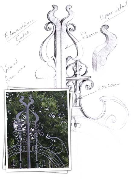 Edwardian Gate Drawing of gate detail
