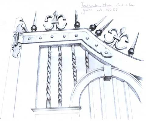 Sketch of Jordanstone House Oak and Iron Gates
