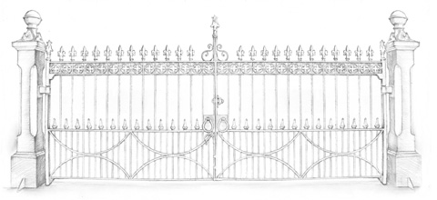 drawing of Victorian Carriage Drive Gates #1