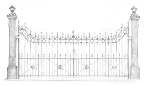 drawing of Victorian Carriage Drive Gates #2