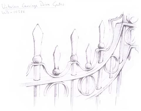 Drawing of Detail of Victorian Carrage Drive Gates #2