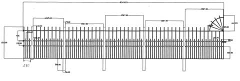 CAD drawing of Castellated Railings