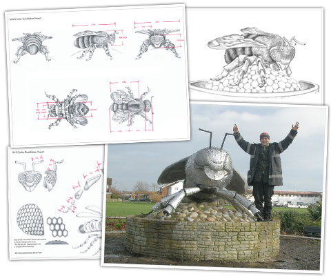 Peter Weldon with the bee steel sculpture and a selection of his designs with measurements.